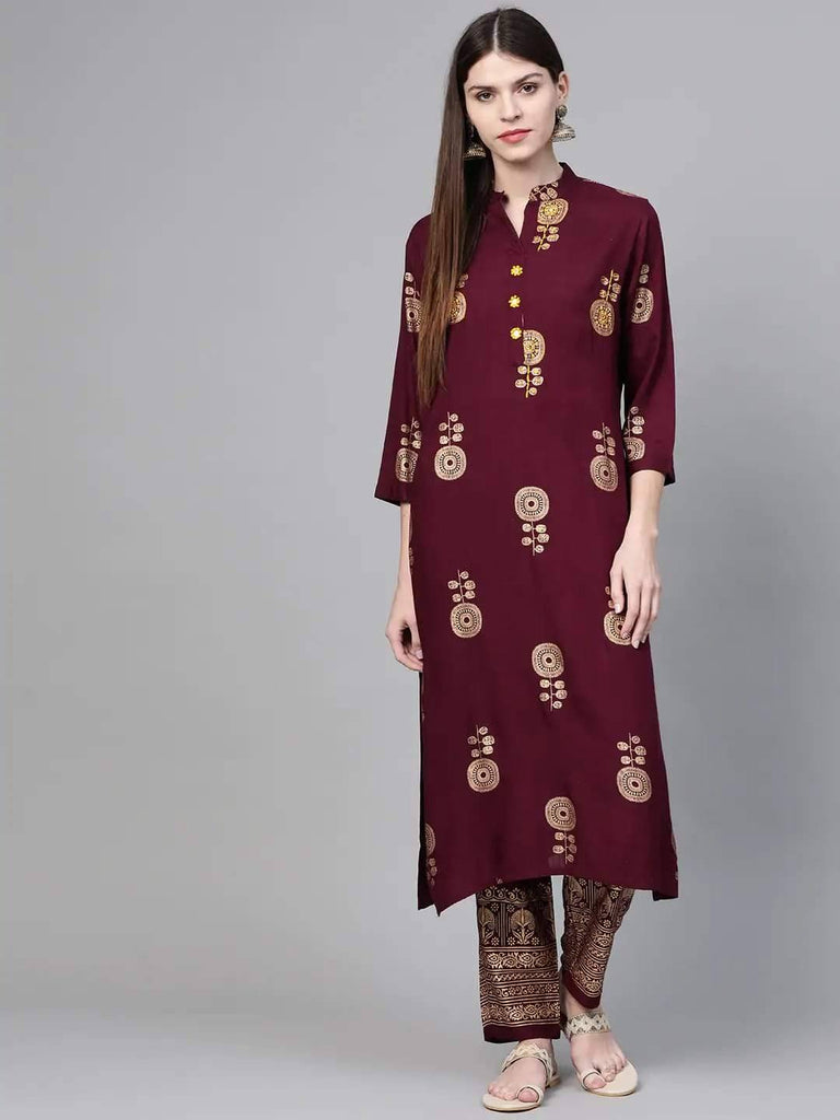 Wine & Golden Mirror Work Embroidered Printed Kurta with Trousers - www.riafashions.com