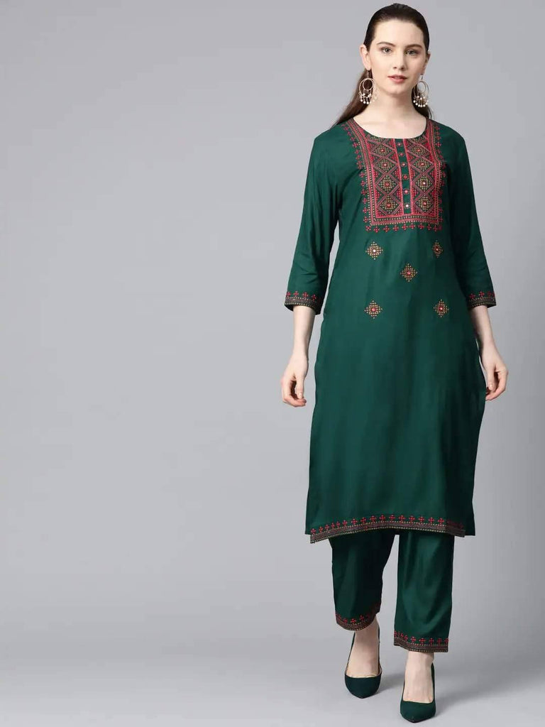 Green & Beige Embroidered Kurta with Palazzo