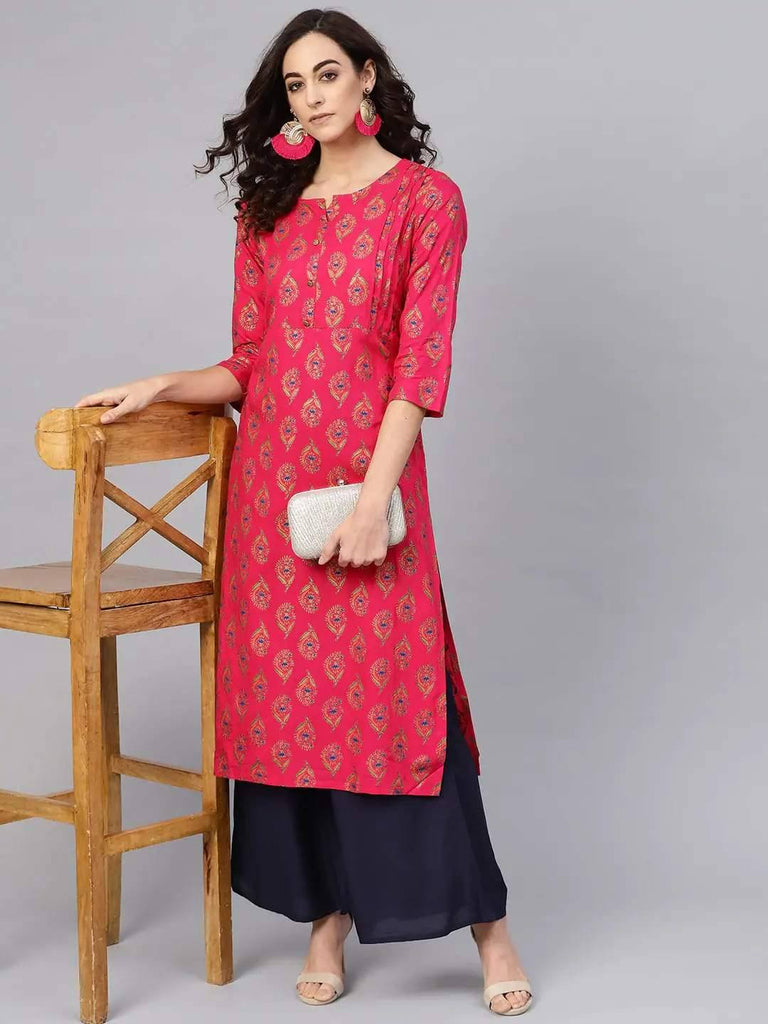 Pink & Navy Blue Printed Kurta with Palazzo - www.riafashions.com