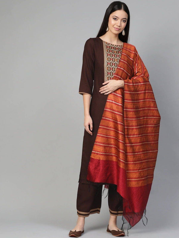 Brown & Orange Yoke Design Kurta with Palazzos & Dupatta