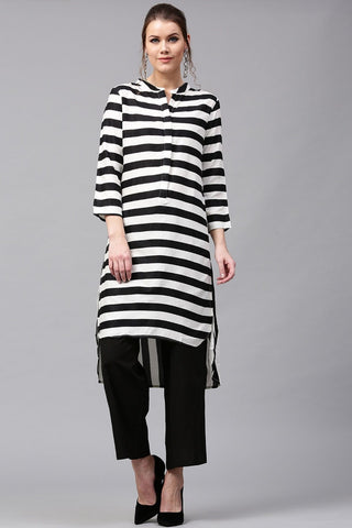 Black and White Stripes Make To Order Printed Kurti/Tunic