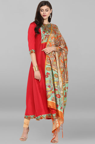 Red Kurti/Tunic with dupatta
