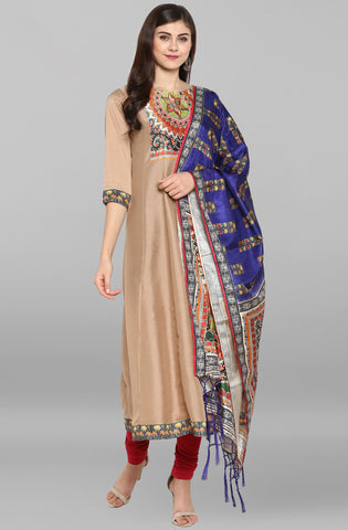 Brown Poly Silk Kurti/Tunic