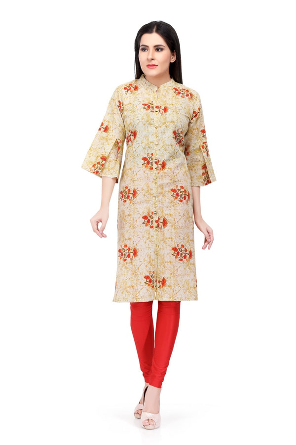 Readymade Cream Printed Cotton Kurti