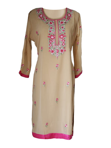 Cream Georgette Kurti/Tunic