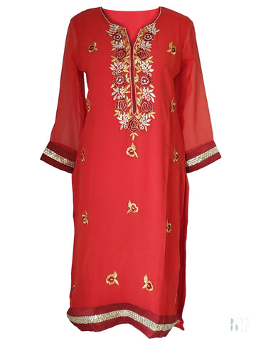 Red Georgette Kurti/Tunic