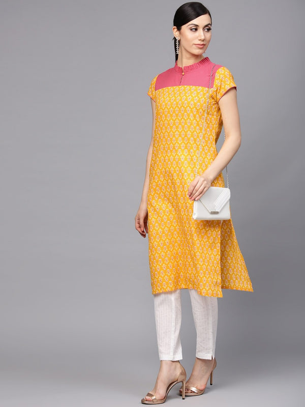 Yellow Colour Make To Order Kurti