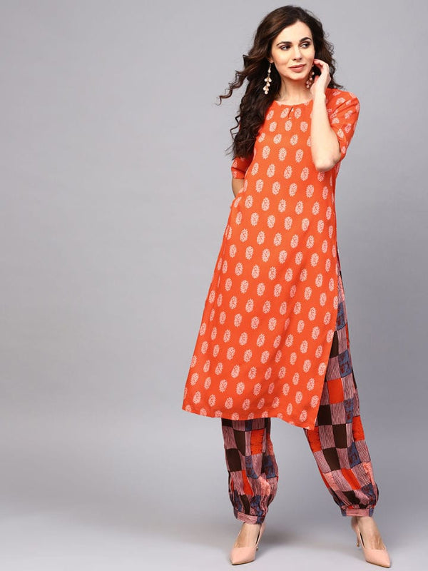 Readymade Orange Palazzo Kurta Set