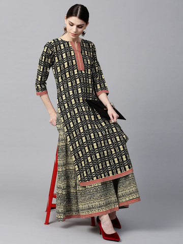 Black & Cream Colour Make To Order Kurti/Tunic with Skirt