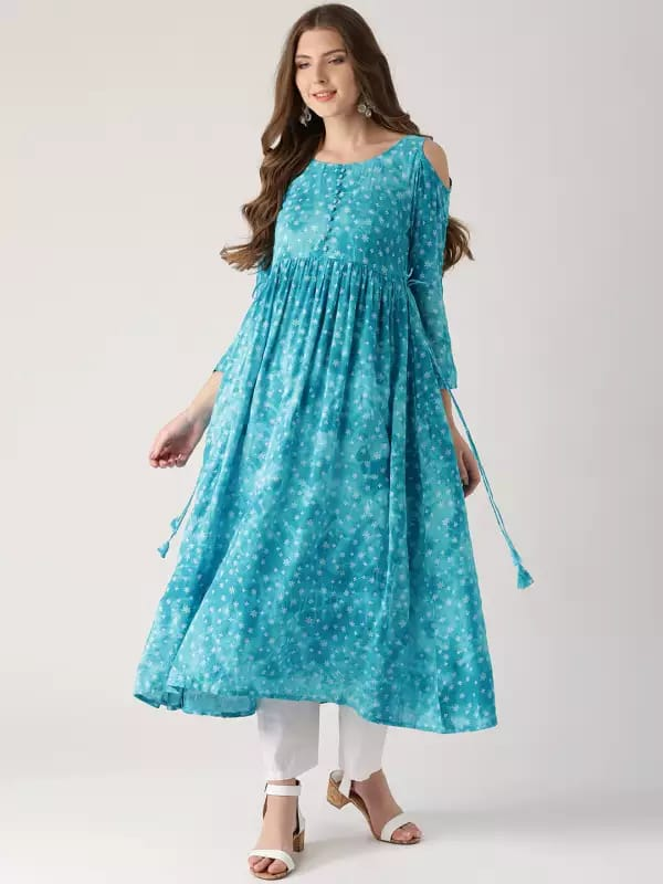 Blue colour Make to order Printed Kurti Dress
