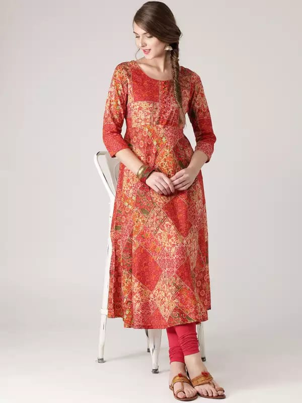 Peach Colour Make To Order Kurti