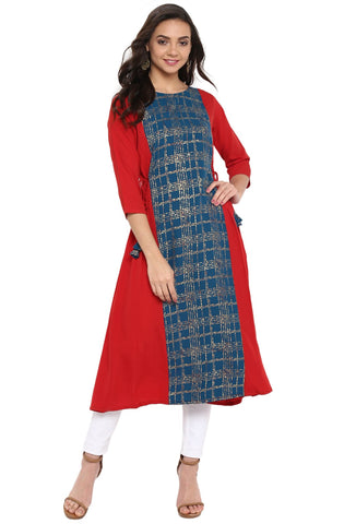 Blue & Red Colour Crepe Designer Kurti