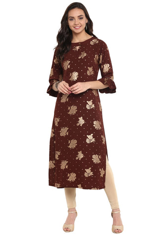 Brown Colour Crepe Designer Kurti
