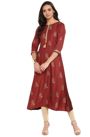 Wine Colour Crepe Designer Kurti