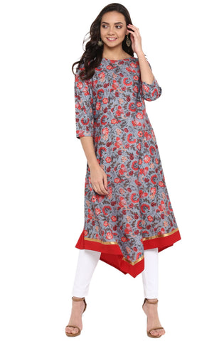 Grey & Red Colour Crepe Designer Kurti