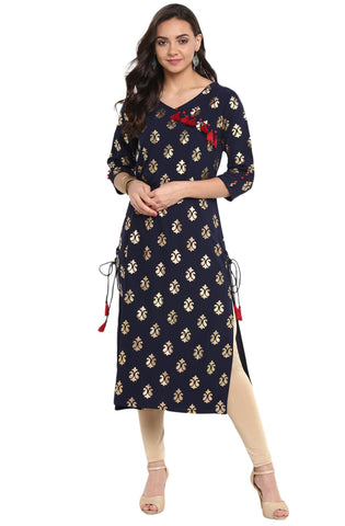 Navy Blue Colour Crepe Designer Kurti