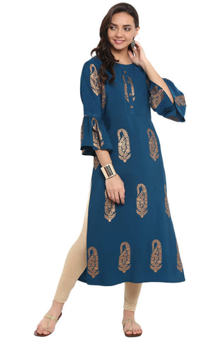 Oxford Blue Colour Crepe Designer Kurti