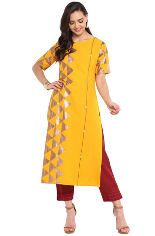 Yellow Colour Crepe Designer Kurti