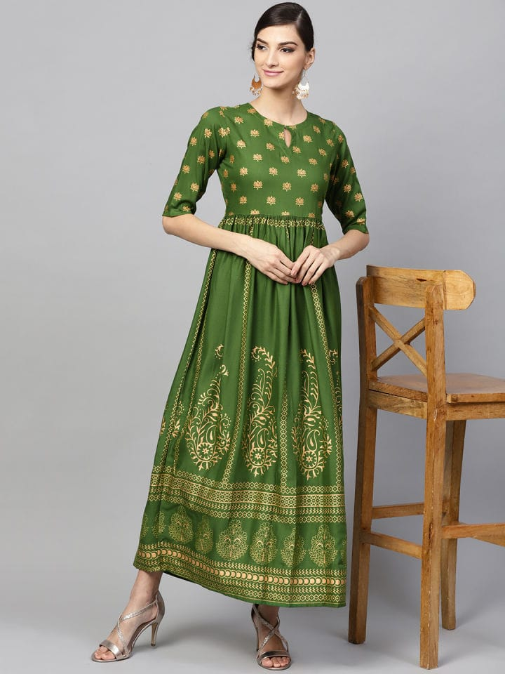 Green Colour Printed Make to Order Kurti