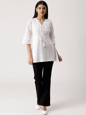White Cotton Short Kurti / Tunic