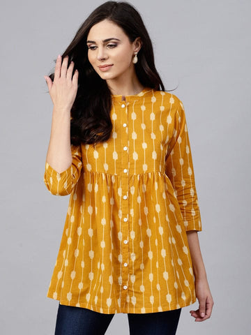 Yellow Cotton Short Kurti / Tunic