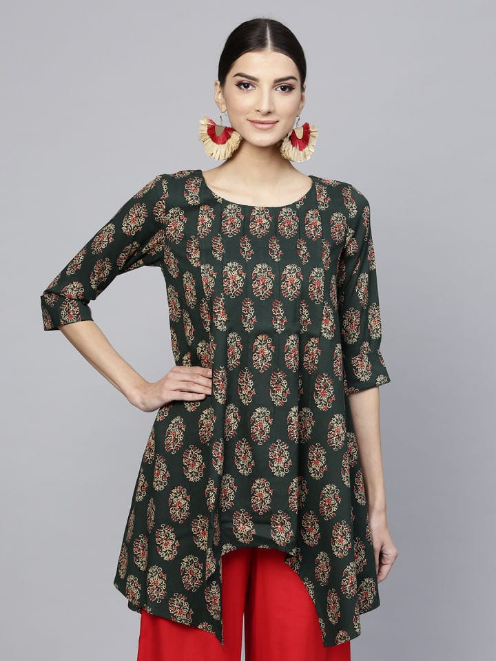 Green Cotton Short Kurti / Tunic