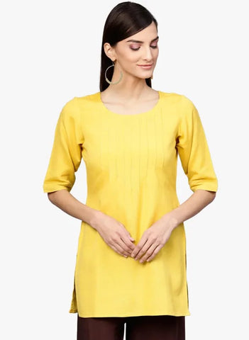 Solid Yellow Cotton Short Kurti / Tunic