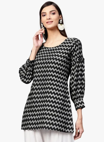 Black Cotton Short Kurti / Tunic