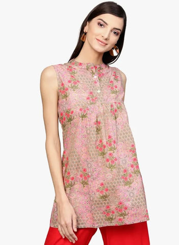 Pink Floral Print Cotton Short Kurti / Tunic
