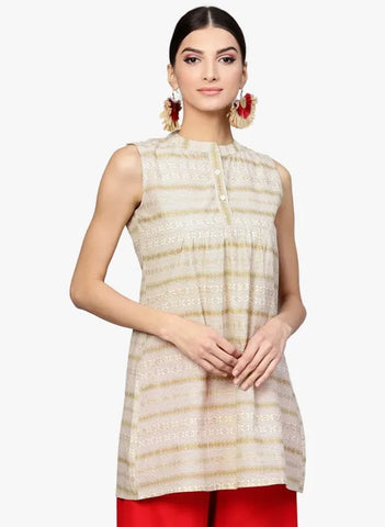 Off White Cotton Short Kurti / Tunic