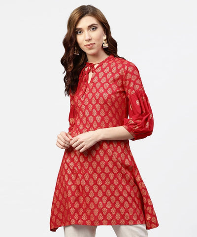 Red Cotton Short Kurti / Tunic