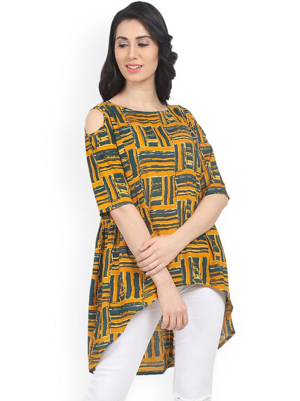 Yellow Printed Cotton Short Kurti / Tunic