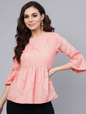 Pink Cotton Short Kurti / Tunic