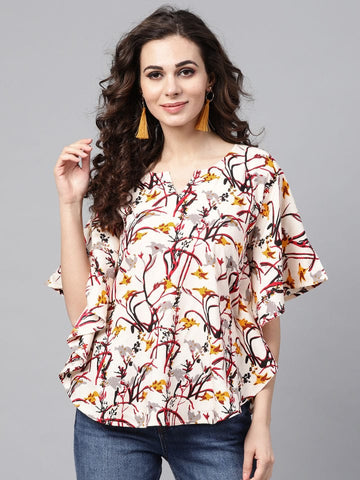 White Printed Cotton Short Kurti / Tunic