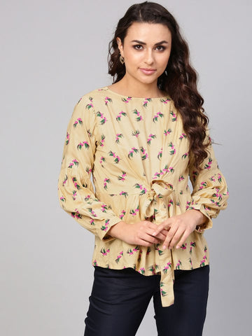 Dark Cream Printed Cotton Short Kurti / Tunic