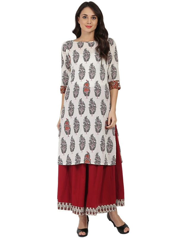 White Printed Make to Order Kurti/Maxi Dress