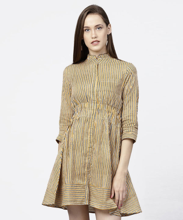 Yellow Striped Make to Order Kurti