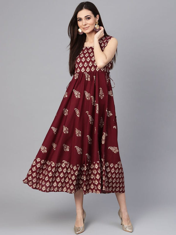 Wine Colour Make To Order Kurti Dress