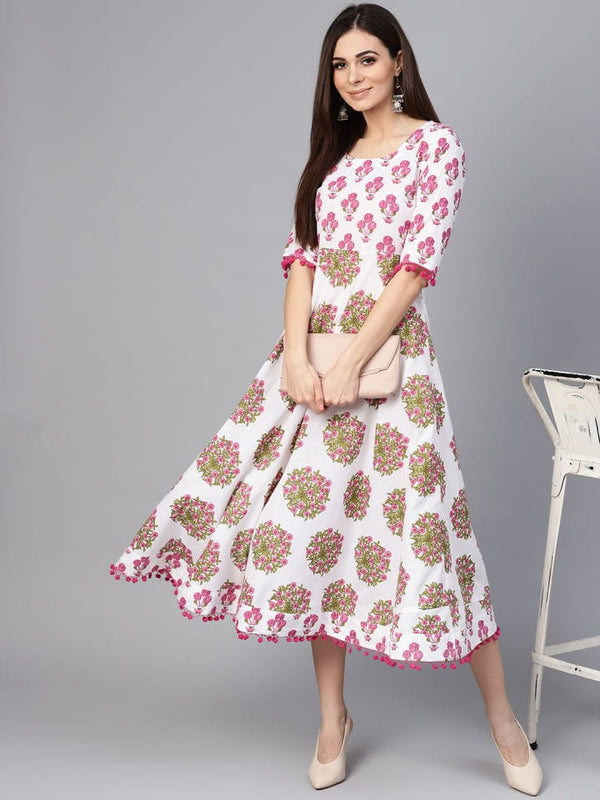White & Pink Colour Make To Order Kurti Dress