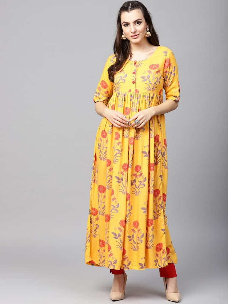 Readymade Yellow Printed Cotton Long Kurta