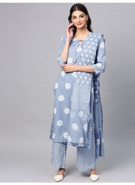Readymade Blue Printed Cotton Palazzo Suit With Duppata