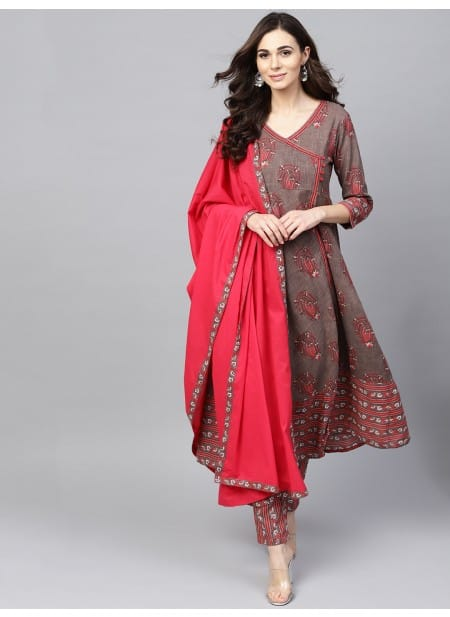 Grey & Red Printed Kurta Pant Set With Dupatta