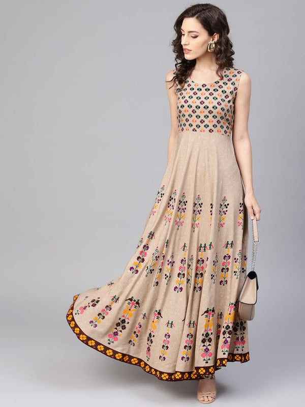Nude Printed Make To Order Kurti Dress