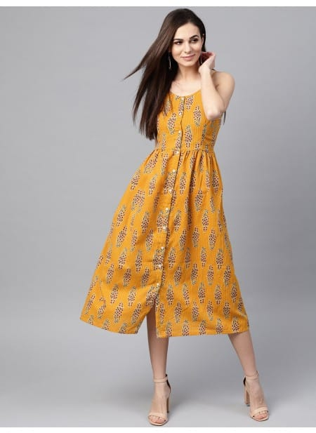 Yellow Printed Kurti with no sleeves