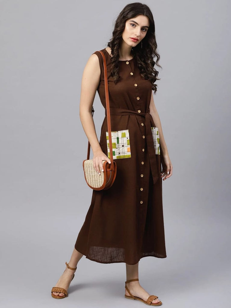 Brown Straight-cut kurta With No Sleeves