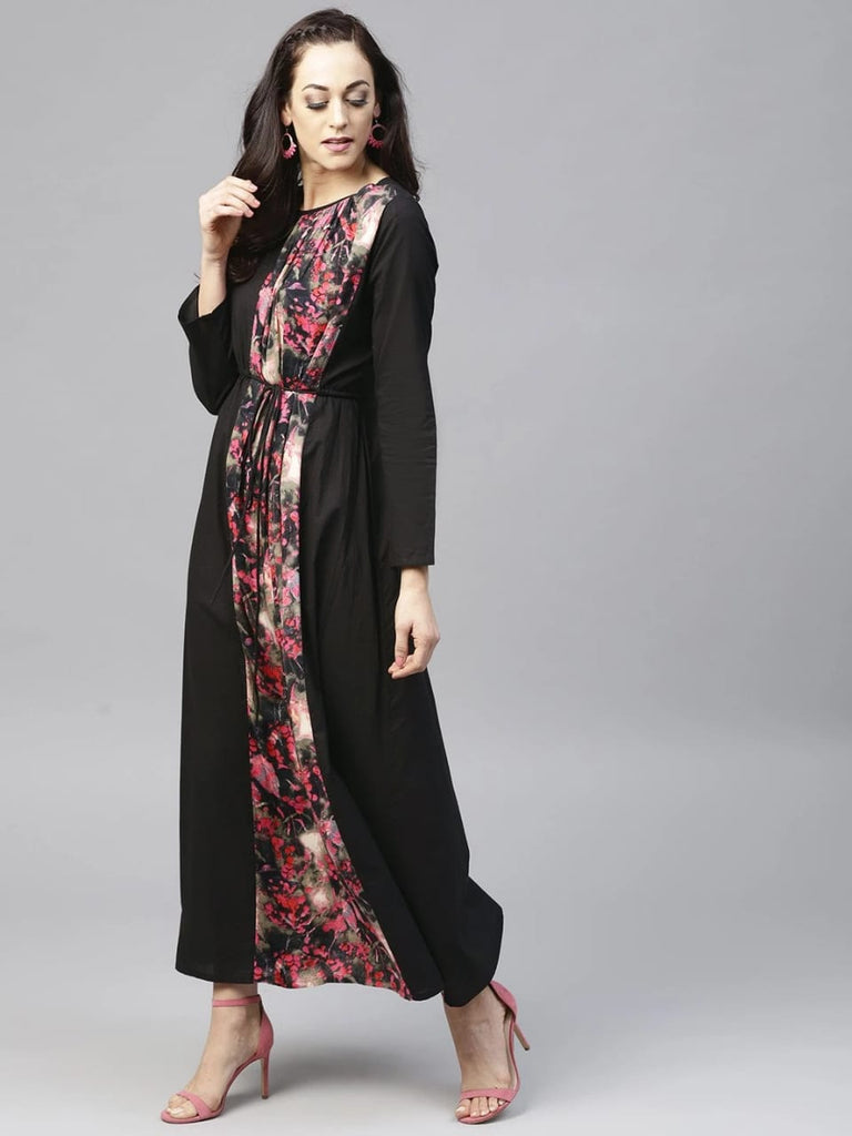 Black Printed A-line Kurta With Full Sleeves