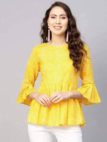 Yellow Make To Order Short Kurti With Flared Sleeves
