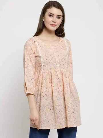 Light Peach Colored Make To Order Short Kurti / tunic / top