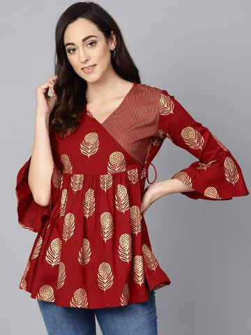 Brown Printed Make To Order Short Kurti / tunic / top
