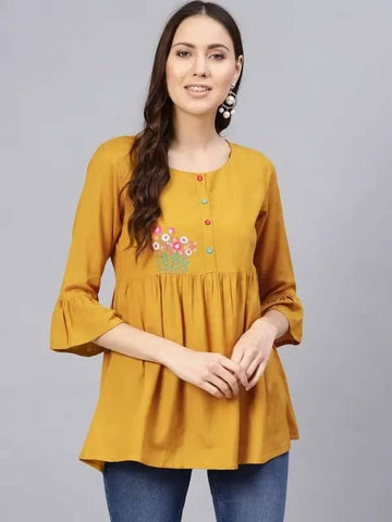 Butterscotch Yellow Colored Make To Order Short Kurti / tunic / top